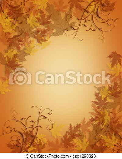 Autumn Fall leaves border - csp1290320