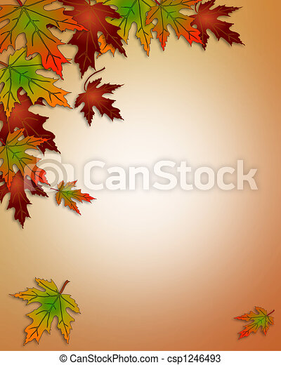 Autumn Fall Leaves Border - csp1246493
