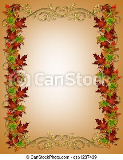 Autumn Fall Leaves Border Frame - csp1237439