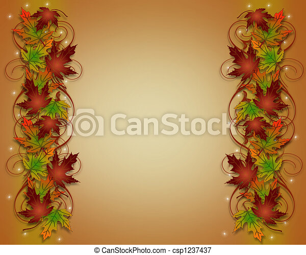 Autumn Fall Leaves Border Frame - csp1237437
