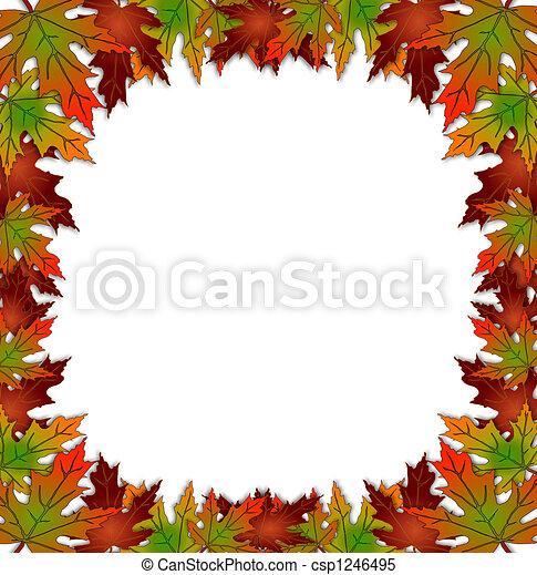 Autumn Fall Leaves Border Square - csp1246495