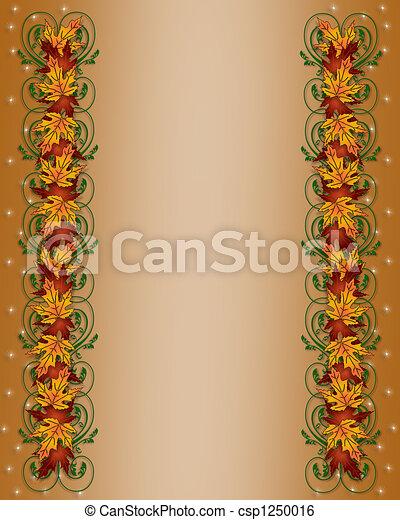 Autumn Fall Leaves Border - csp1250016