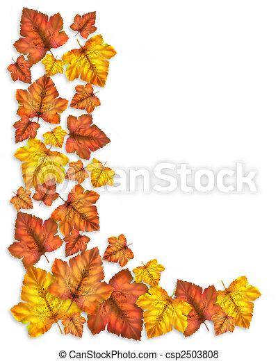 Autumn Fall Leaves Border  - csp2503808
