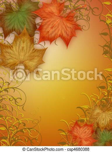 Autumn Fall leaves Border - csp4680388