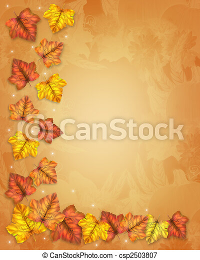 Autumn Fall Leaves Border - csp2503807