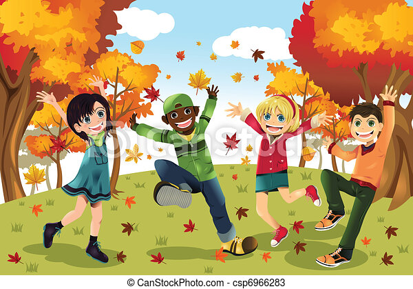 autumn fall season kids a vector illustration of kids vectors rh canstockphoto com fall season clipart black and white fall season clipart free