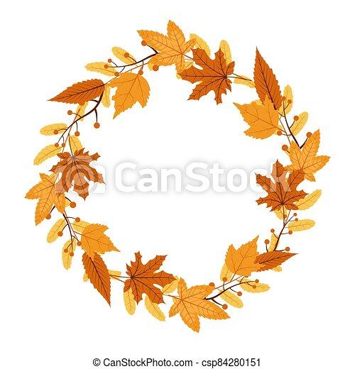 Autumn Fall Season Leaf Greeting Invitation Circle Frame Background Bouquet - csp84280151