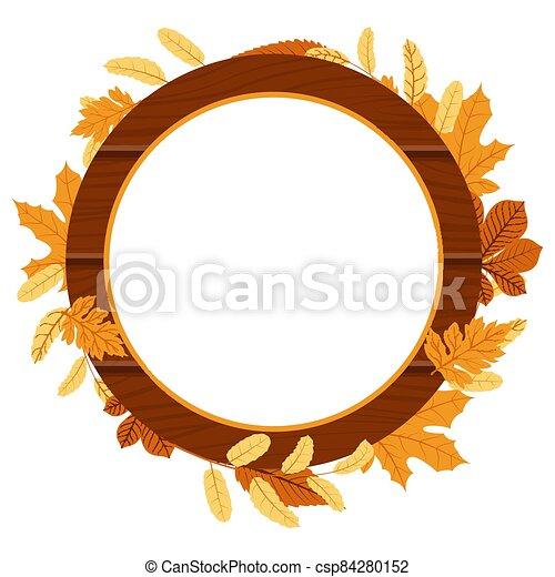 Autumn Fall Season Leaf Greeting Invitation Circle Wooden Frame Bouquet - csp84280152
