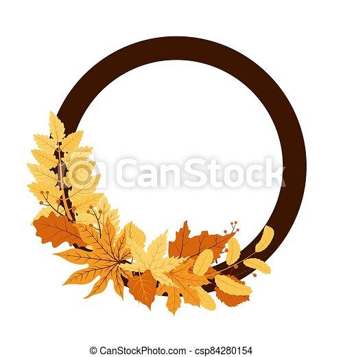 Autumn Fall Season Leaf Greeting Invitation Circle Frame Background Bouquet - csp84280154