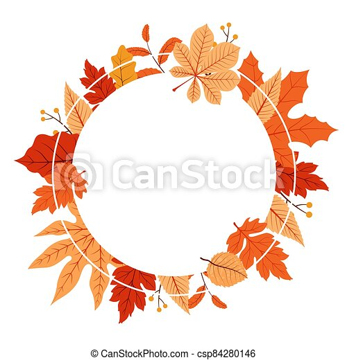 Autumn Fall Season Leaf Greeting Invitation Circle Frame Background Bouquet - csp84280146