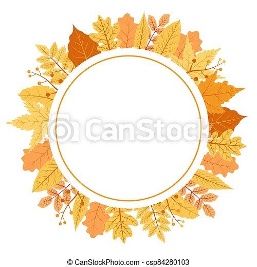 Autumn Fall Season Leaf Greeting Invitation Circle Frame Background Bouquet - csp84280103