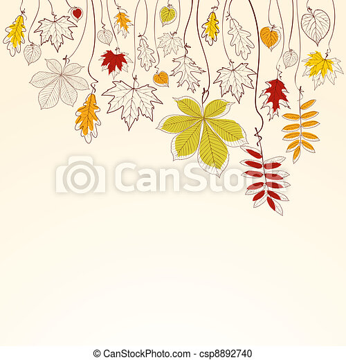 Autumn falling leaves background - csp8892740