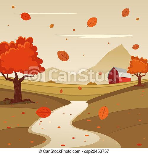 autumn farm landscape cartoon illustration of red farm barn season
