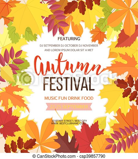 Autumn Festival Background Invitation Banner With Fall Eps