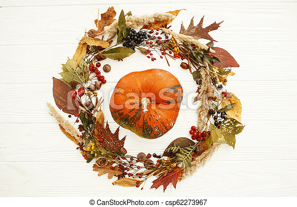 Autumn Flat Lay. Happy Thanksgiving. Pumpkin in beautiful fall leaves wreath with berries,nuts,acorns, herbs on rustic white background top view. Seasons greetings card mockup - csp62273967