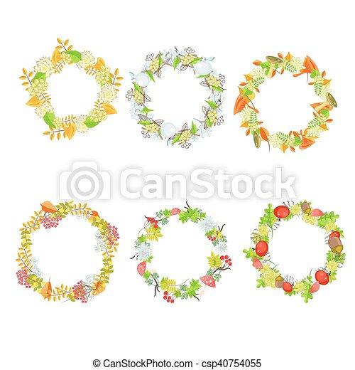 Autumn floral leaf wreath vector set. - csp40754055
