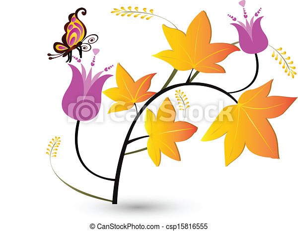 Autumn floral with fly background  - csp15816555
