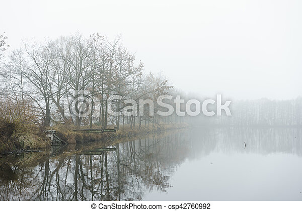 Autumn fog on the bank of small lake. - csp42760992