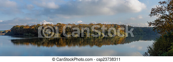 autumn forest and reflection - csp23738311