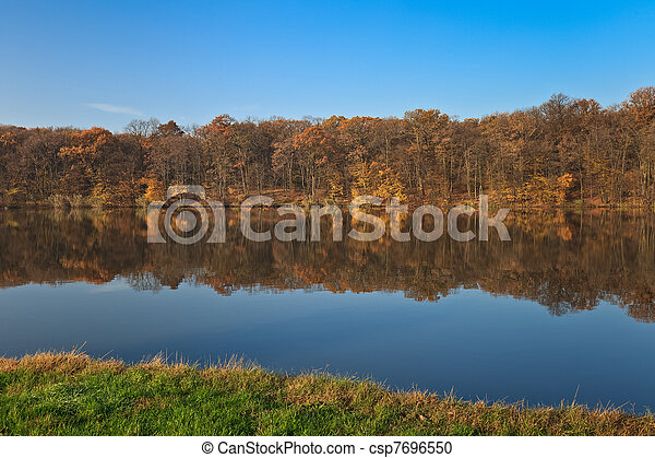 autumn forest on a lake - csp7696550