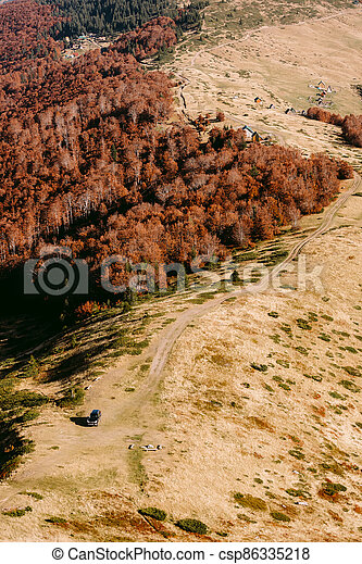autumn forest scenery aerial view - csp86335218