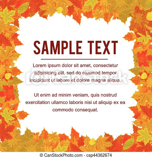 Autumn Frame from Falling Foliage. Design Vector - csp44362674