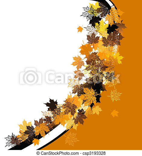 Autumn frame: maple leaf. Place for your text here. - csp3193328