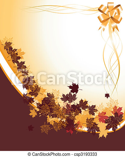 Autumn frame: maple leaf. Place for your text here. - csp3193333