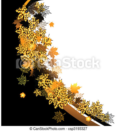 Autumn frame: maple leaf. Place for your text here. - csp3193327