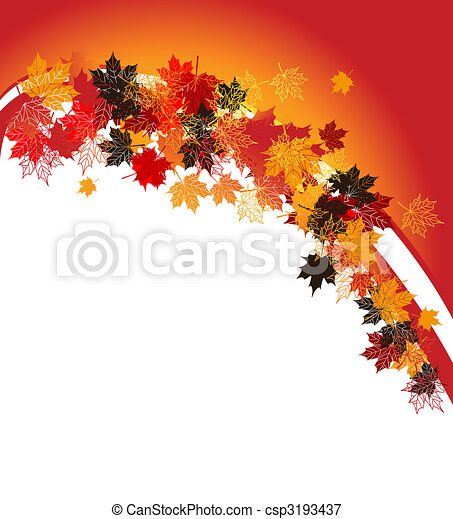 Autumn frame: maple leaf. Place for your text here. - csp3193437