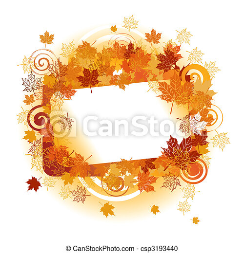 Autumn frame: maple leaf. Place for your text here. - csp3193440
