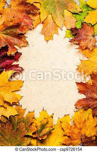 Autumn frame on paper - csp9726154