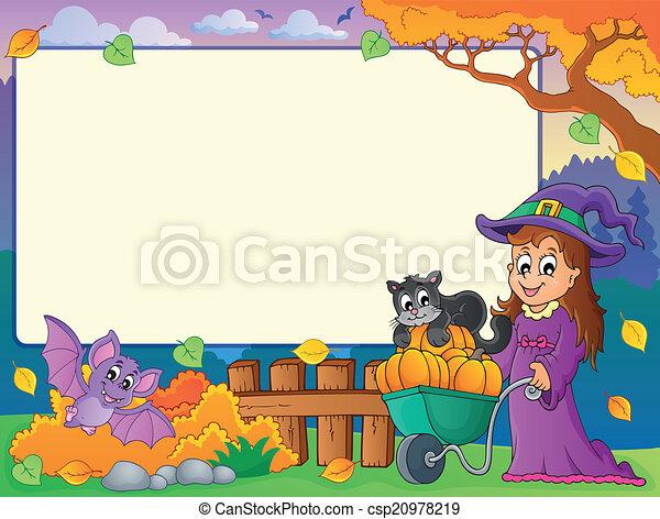 Autumn frame with Halloween theme 1 - csp20978219