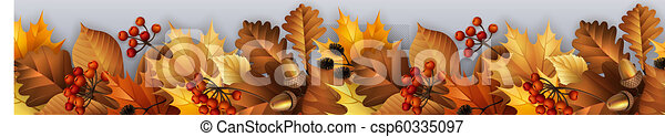 Autumn garland with leaves, berries and cones. - csp60335097