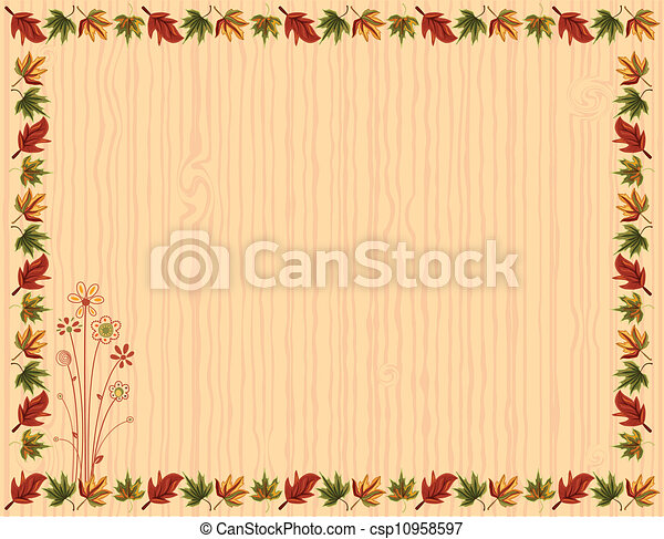 Autumn greeting card with leaves border - csp10958597