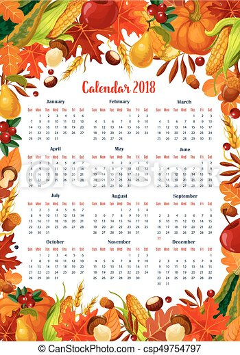 autumn harvest 2018 calendar vector template autumn seasonal
