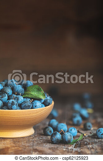 Autumn harvest blue sloe berries on a wooden table background. Copy space. Dark rustic style. Natural remedy - csp62125923