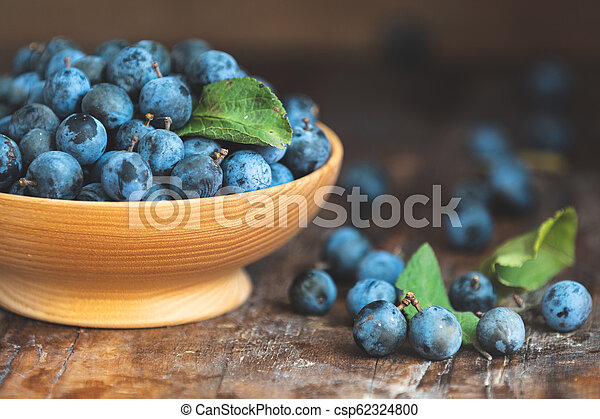 Autumn harvest blue sloe berries on a wooden table background. Dark rustic style - csp62324800