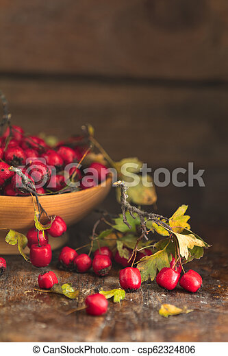 Autumn harvest Hawthorn berry with leaves in bowl on a wooden table background - csp62324806