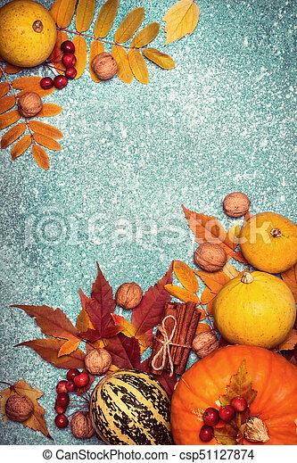 Autumn harvest pumpkin Thanksgiving frame on a Blue background - csp51127874
