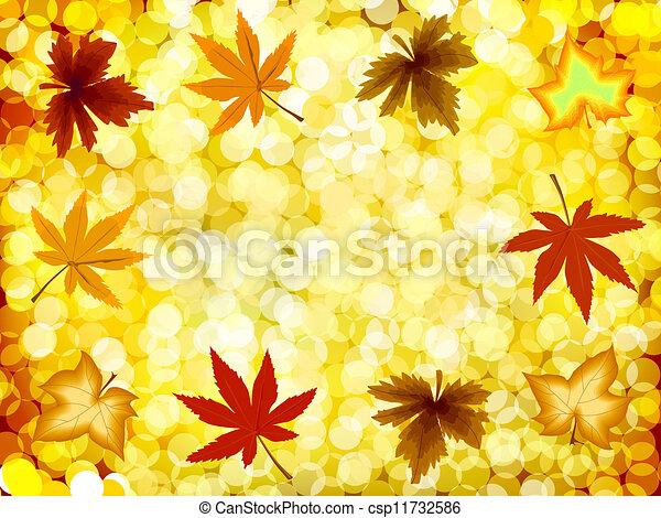 Autumn illustration gold background. Vector - csp11732586