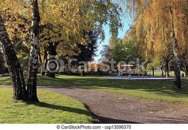 Autumn in a park. - csp13596370