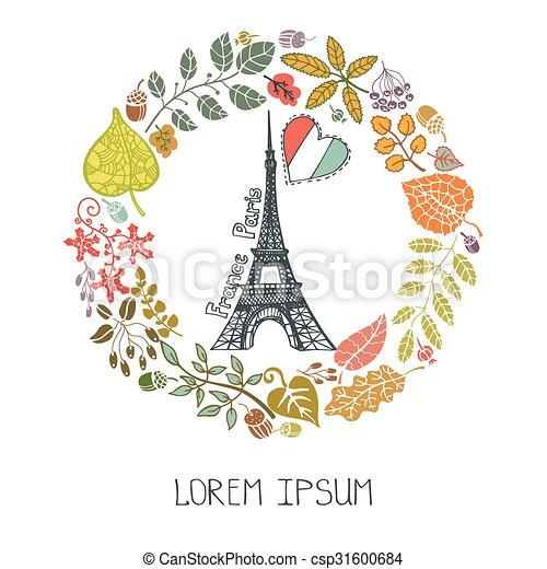 Autumn in paris . Paris famous landmarks with autumn leaves wreath ...
