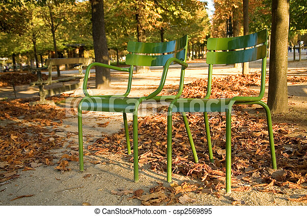 Autumn in Paris. Typical parisian park chairs in the Luxembourg Garden. Paris, France - csp2569895