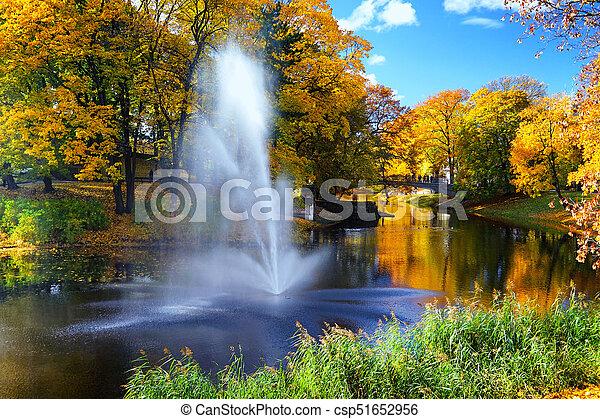 Autumn in the city park of Riga - csp51652956