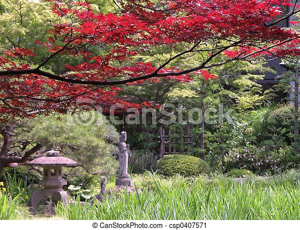 Autumn Japanese garden - csp0407571