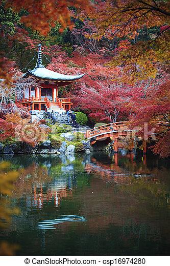 Autumn Japanese garden with maple - csp16974280