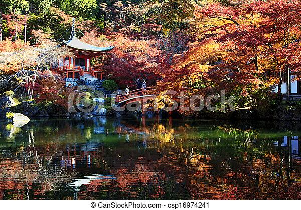 Autumn Japanese garden with maple - csp16974241