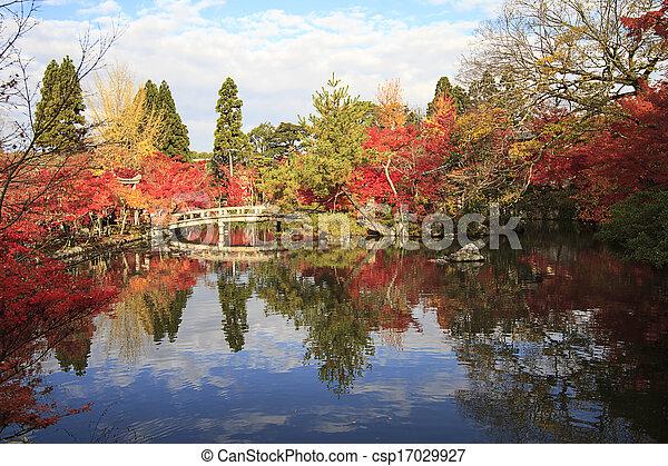 Autumn Japanese garden with maple - csp17029927