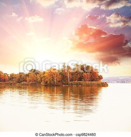 Autumn lake - csp9824460